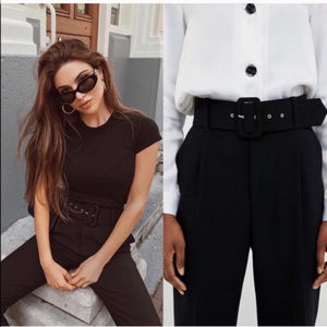 Zara | Black High Waisted Belted Trousers Sz Small